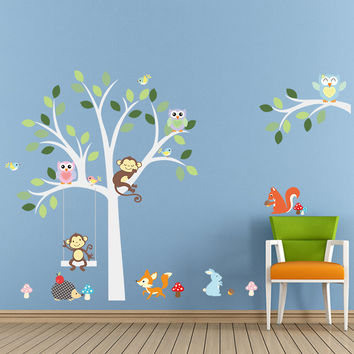 White tree wall stickers Fox owls monkey sleep swing for kids children room birds Wall Decal Vinyl Sticker Nursery room decor