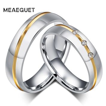 Meaeguet Silver Color Romantic Lover's Wedding Rings AAA+ CZ Anel For Couple Stainless Steel Finger Rings