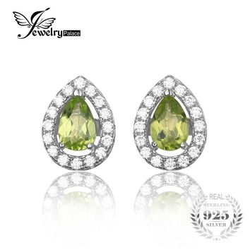 JewelryPalace Pear 0.9ct Natural Peridot 925 Sterling Silver Stud Earrings For Women Wedding Fashion Green Earrings Fine Jewelry