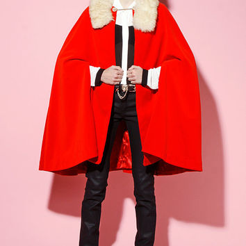 Vintage 1960s Red Velvet Cape/Coat/Jacket with Jeweled Chain Neck Clasp & Fur Trimmed Collar