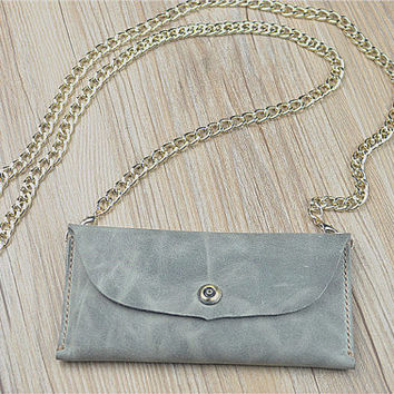Leather iPhone 6s Plus Wallet with Golden Chain, iPhone 6s Case, Lihgt Grey Purse, Antique Phone Case, Wedding Gift For Couple, 1F423