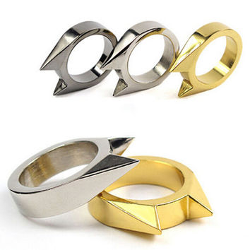 1Pair EDC Self Defence Stainless Steel Ring Finger Defense Ring Tool Survival Gear