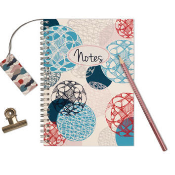 "Personalized Notebook ""Floating Circles"", Handmade Custom Journal, Spiral Wire Bound, A5 Size, Notepad, Design Note Book"