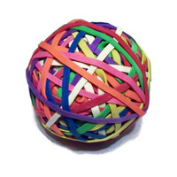"Office Rubber Band Ball - Rainbow Colored - 2.5 inches, 2 1/2"" - Office Supplies, Work Desk, Craft Supplies"
