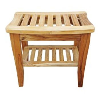 "Sturdy Teak Shower Bench with Shelf and Rubber Feet, 20"" long x 13.6"" wide x 17.5"" high. Foot Stool & Shower Shelf for Your Bathroom. Suitable for both Indoor and Outdoor."
