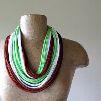 Skinny Scarf Necklace - Eco Friendly Cotton Jersey Infinity Scarf - Brick Red, Lime Green, White