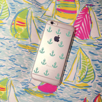 Turquoise Anchors Clear Silicone Iphone 6 Case