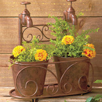 Bronze Rustic Metal Double Faucet For Plants/ Flowers Yard Garden Indoor/Outdoor