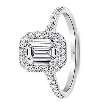 .2.75 Carat GIA Certified 14K White Gold Halo Emerald Cut Diamond Engagement Ring (2 Ct J-K Color VS1-VS2 Clarity Center)