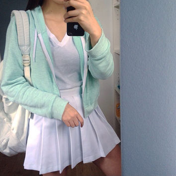 American Apparel Cropped Hoodie In Mint