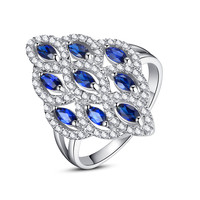 Sterling Silver 2 Carats Marquise Sapphire Cocktail Ring