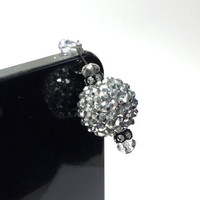 Black & Silver Ball Dangle Cell Phone Charm