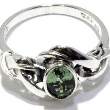 Faceted Moldavite Ring Art Nouveau Sizes 4-12 Sterling Silver 925