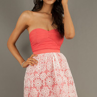 Short Strapless Lace Embellished Dress