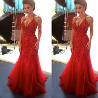 Don's Bridal Sexy Design Red Tulle Mermaid Prom Dresses 2016 Halter Off Shoulder Appliques Beaded Sweep Train Vestido De Festa