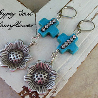 gypsy soul Earrings - Shabby Southern Gypsy Cowgirl turquoise cross rhinestone Statement Jewelry, pure sterling silver sunflower earrings