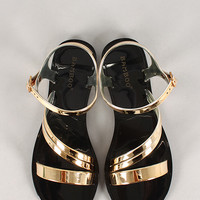Bamboo Metallic Jelly Flat Sandal