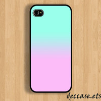 IPHONE 5 CASE Blue Ping Mint Pale Gradient iPhone 4 case iPhone 4S case iPhone case Hard Plastic Case Soft Rubber Case
