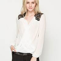 Lace Wrapped Front Long Sleeve Chiffon Blouse