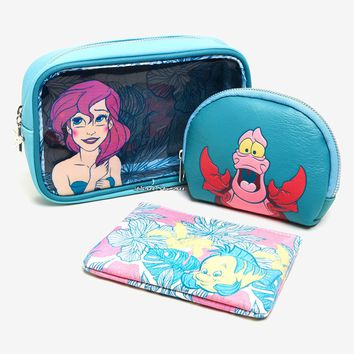 Licensed cool Loungefly Disney Little Mermaid Ariel Floral Cosmetic Make-Up Tote Bag 3 Set NWT