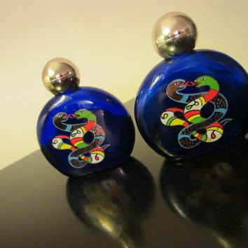 Niki de Saint Phalle Cobalt Glass Painted Perfume Bottles In Pair