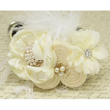 Ivory Flower dog collar, Pearl, beaded, feather flower attached to Ivory, Champagne, pink, White, lilac, Brown or copper leather collar