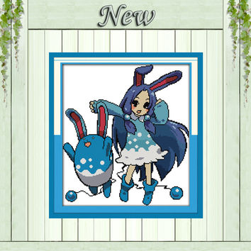 Pokemon fairy elf home decor painting counted print on canvas DMC 14CT 11CT chinese Cross Stitch Needlework Sets Embroidery kits