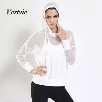 Vertvie Outdoor Running Hooded Hoodies Women Mesh Hollow Patchwork Sport Cover Up Fitness Sweater Gym Clothing Plus Size Top