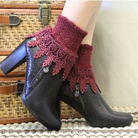 Lace sock, lace socks, boot cuff socks,  lace socks for boots, victorian, romantic lace, boot socks, Signature Lace Sock Garnet | SLC2