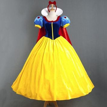 Free shipping party carnival role-playing Women Adult Halloween Cartoon Princess Snow White Costume For Sale