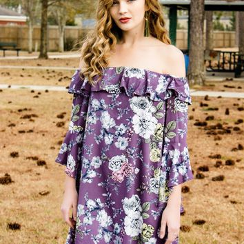 Off The Shoulder Lavender Floral Dress