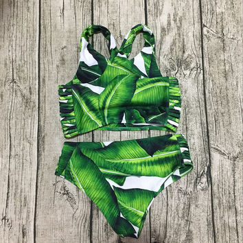PUJUNLIN High Neck Bikini Women Swimwear 2017 Hot Printed Green Leaf Bandage Swimsuit Bikini Set Bathing Suit Crop Top Biquini