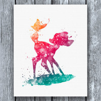 Bambi Butterfly Disney Watercolor Art Print Instant Download