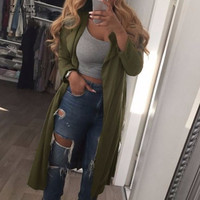 ZANZEA Vintage Women 2016 Autumn Long Lapel Trench Coat Female Casual Loose Thin Cardigan Elegant Outwear Plus Size Coat
