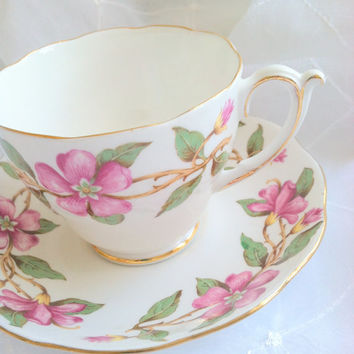 Vintage English Roslyn Tea Cup & Saucer Dogwood Design Tea Party Fine Bone China Wedding, Birthday, Housewarming Gift Inspiration