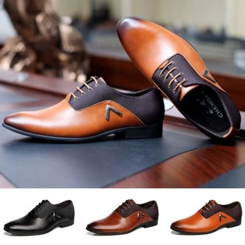 British Style Mens Formal Shoes Fashion Genuine Leather Pointed Flats Casual Business Wedding Dance Plus Size Shoes (US Size 6-1