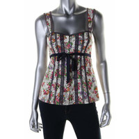 Nanette Lepore Womens Embroidered Floral Print Casual Top