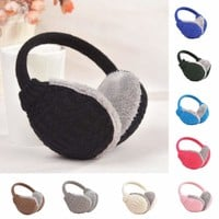 IK- Cozy Design Fluffy Winter Adjustable Earwarmers Knitted Warm Ear Muffs Cheap