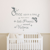 Once Upon A Time Girl Name Wall Decals Little Princess Decal Kids Nursery Quote Vinyl Stickers Home Bedroom Decor  T40