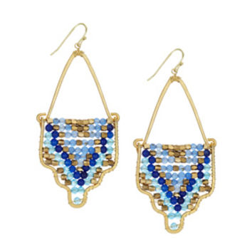 Blue Mosaic Hook Earrings
