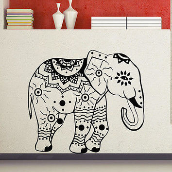 Wall Decals Indian Elephant Decal Fashion Bedroom Home Decor Boho Sticker MR388