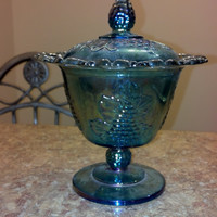 Blue Indiana Glass Lace Edged Footed Candy Dish Grape and Leaf Pattern