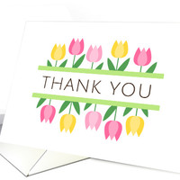 Thank you card with pink and yellow tulips - modern and minimal design card