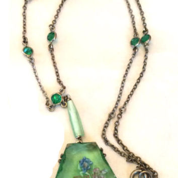 Czech Glass Pendant Green 1920s Vintage Jewelry