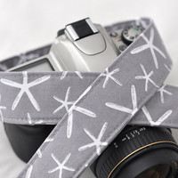 dSLR Camera Strap - Grey Starfish - Nautical Camera Strap - Summer Accessories