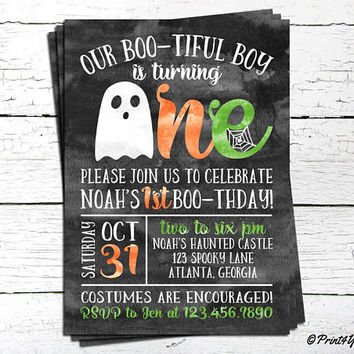 1st Birthday Halloween Invitation // Personalized Printable Boo-tiful 1st Birthday Invitation // Ghost Invitation // 1st Birthday // Boo