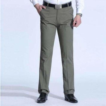 ICIKON3 1519 plus size 38 40 middle aged dad casual business pants men straight trousers loose cotton polyester 2019