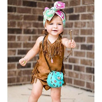 Summer Vintage Infant Baby Girls Sleeveless Halter Tassel Bodysuit Fashion  Toddlers Clothes for Girls Newborn Jumpsuit 088e768d3
