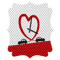 Belle13 Polka Dot Car Love Quatrefoil Clock