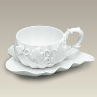 White Pumpkin Tea Cup and Saucer - Only 18 Available